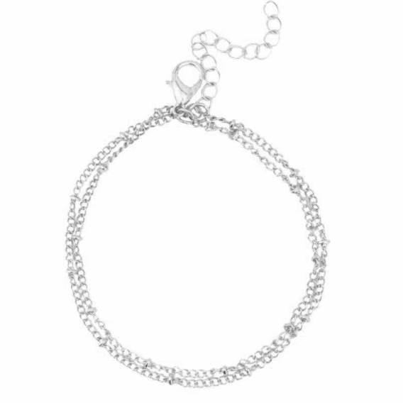 Double-Layer Satellite Chain Silver Bracelet