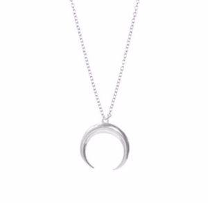 Silver Curved crescent moon necklace