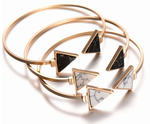Gold Plate Black White Geometric Triangle Open Cuff Bracelet Set