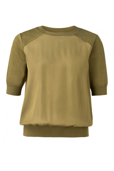 a2ade0dcd26 Top with satin touch body and knitted short sleeves by Yaya