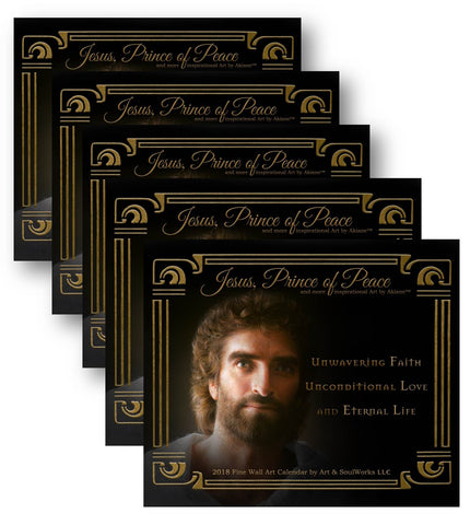 5 Pack - 2018 Jesus, Prince of Peace, Wall Calendar, with Akiane Art