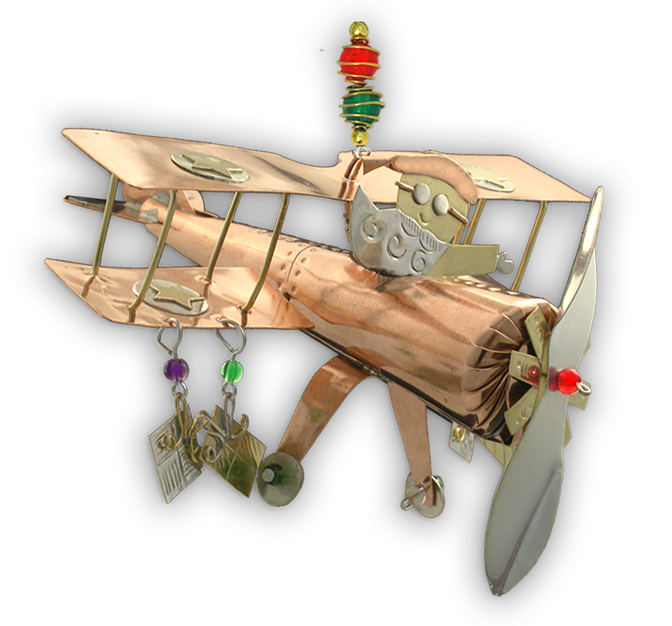 Santa Biplane Ornament - Handmade Ornament
