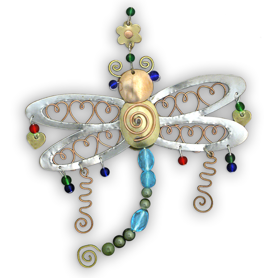 Rainbow Dragonfly - Handmade Ornament