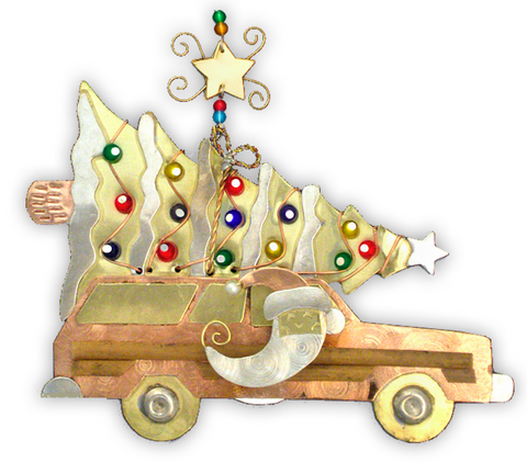 Woody Santa Wagon - Handmade Ornament