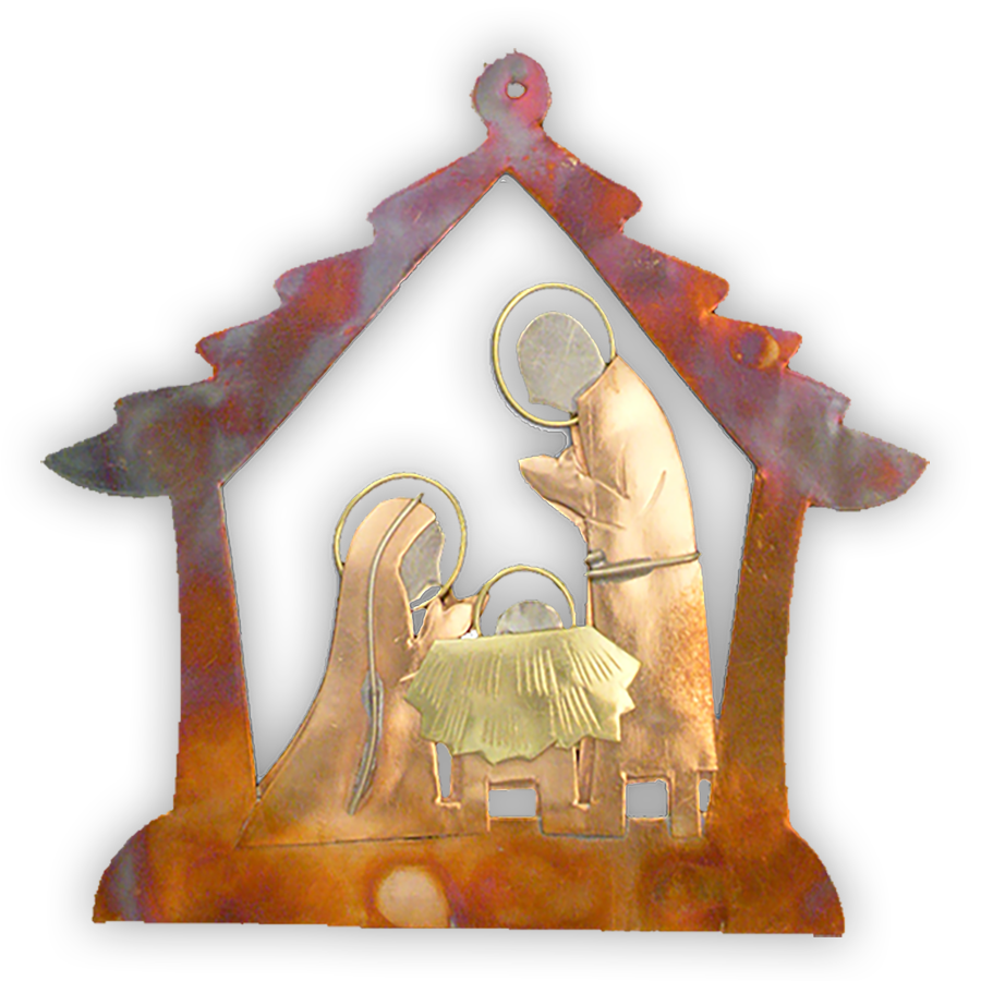 Born in A Manger Nativity - Handmade Ornament