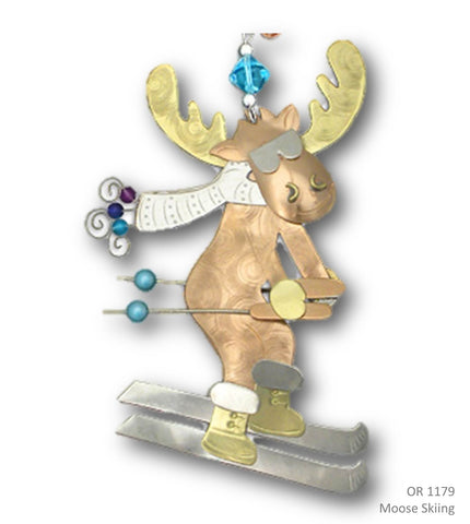 Downhill Skiing Moose - Handmade Ornament