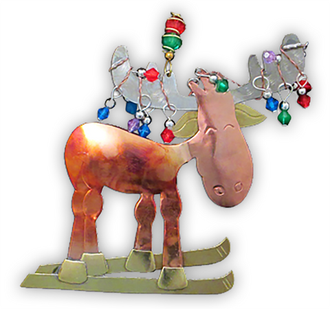 Cross Country Moose - Handmade Ornament