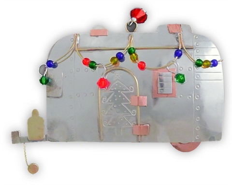 Holiday Airstream Camper - Handmade Ornament