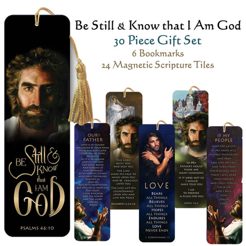 30 piece bookmark set-Jesus - Be Still & Know That I am God  Jesus - Aaronic Blessing - Numbers 6:24 Jesus - Many Mansions - John 14:2 Our Father - Lord's Prayer - Matthew 6:9 Father Forgive - 2 Chronicles 7:14 I AM - Love - 1 Corinthians 13