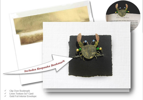 Mr Pincher Crab, Book Lovers Card & Bookmark Mailable Gift Set