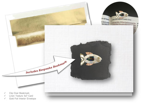 Beaded Fish,  Book Lovers Card & Bookmark Mailable Gift Set