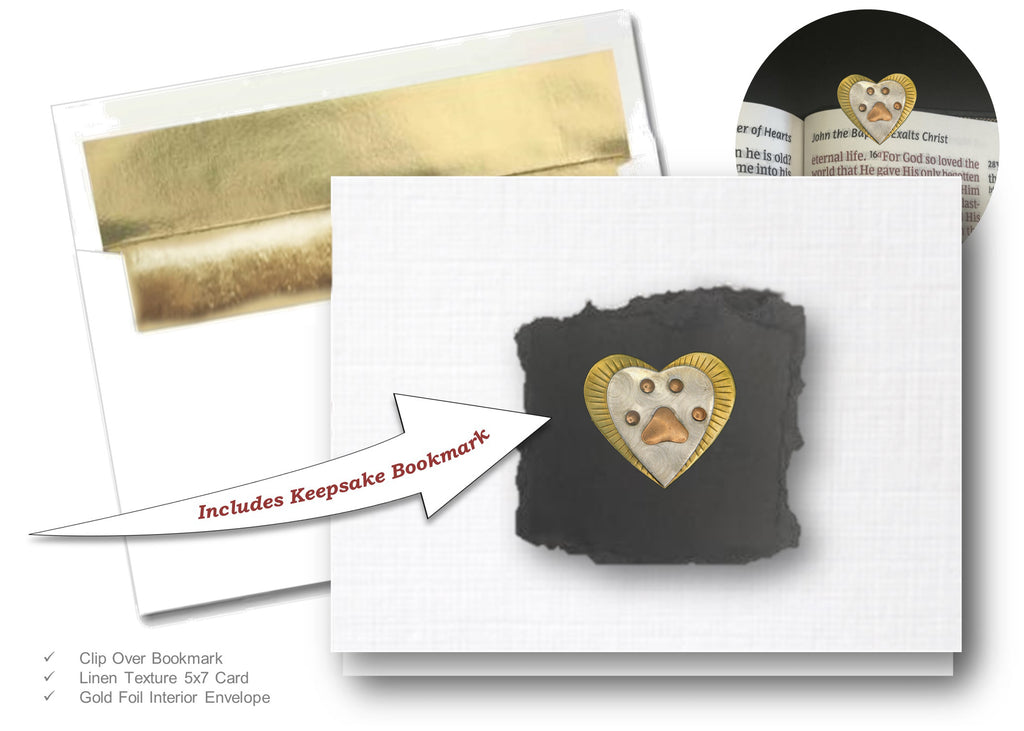 Pet Paw Heart, Book Lovers Card & Bookmark Mailable Gift Set
