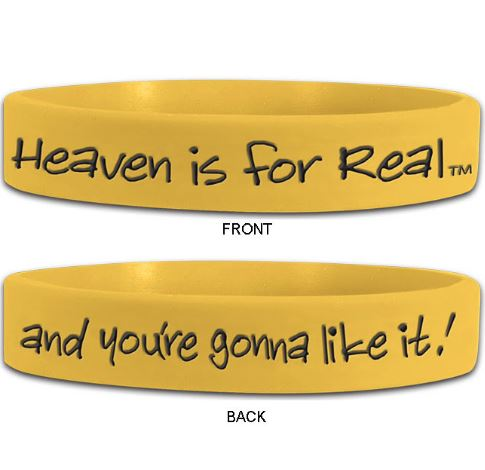 5 Pack, Heaven is for Real, Yellow Silicone Wristbands