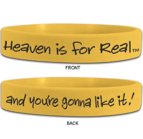 5 Count, Heaven is for Real, Yellow Silicone Wristbands