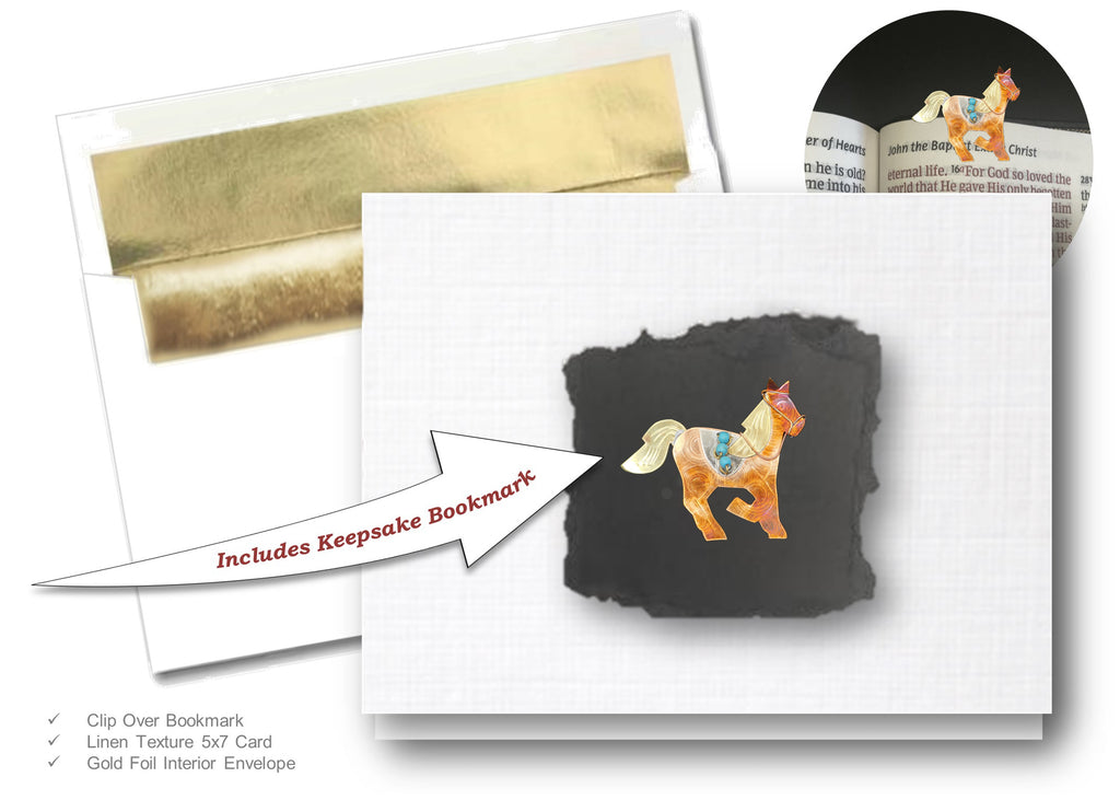 Horse, Book Lovers Card & Bookmark Mailable Gift Set