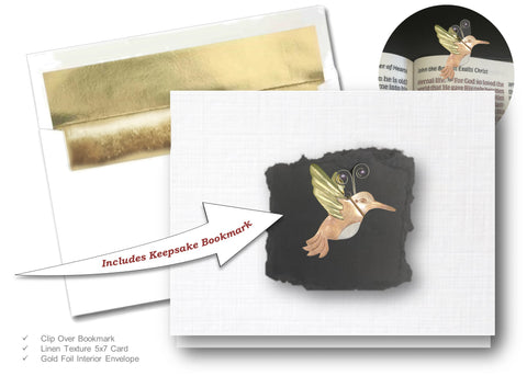 Humming Bird, Book Lovers Card & Bookmark Mailable Gift Set