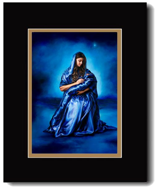 Mother's Love, Jesus &  Mary, Double Matted Print,  16 x 20-inches*