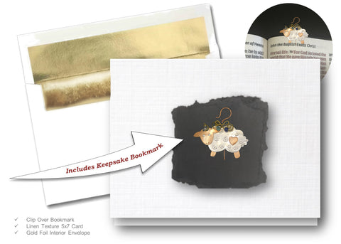 Sheep, Book Lovers Card & Bookmark Mailable Gift Set