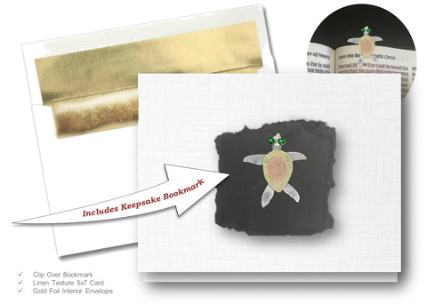 Sea Turtle, Book Lovers Card & Bookmark Mailable Gift Set