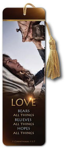 Love Bears All Things - Bible Bookmark - Son of God Movie - @ www.art-soulworks.com