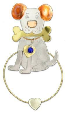 Dog & Bone - Clips-Over-The-Page - Bookmark -  art-soulworks.com