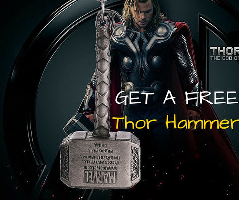 FREE - Thor Hammer Pendant Necklace and Keychain