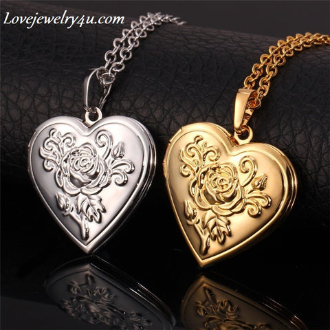 Heart Necklace & Pendant Women/Men Lovers's Jewelry Valentines Gift Gold Plated Romantic Locket