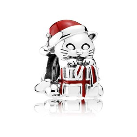 Fit pandora 925 Sterling Silver Christmas Kitten Charm