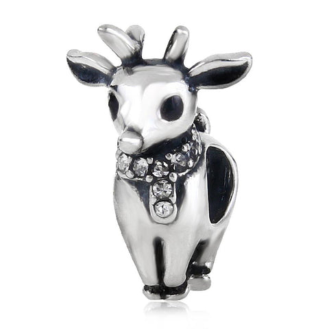 Christmas Gift Reindeer Bead 925 Sterling Silver Beads fit for Pandora Charms Bracelets