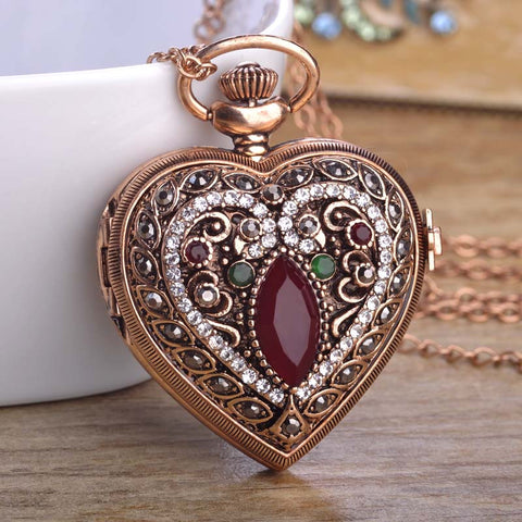 Love Heart Red Pocket Watches For Women Sweater Vintage Turkish Pendant Necklace Bronze Quartz Pocket Watch Necklaces valentines day jewelry