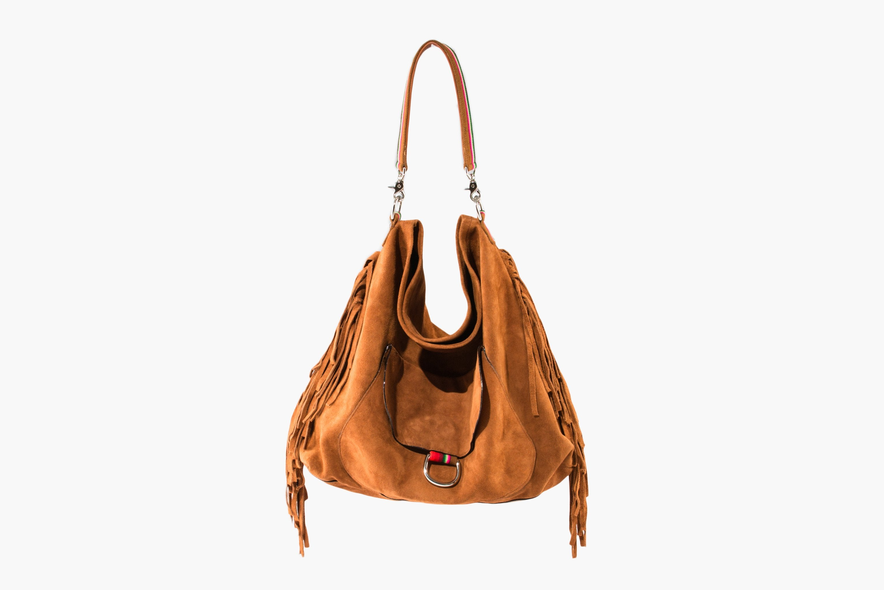 Fringed Hobo Bag ~ Tan Suede