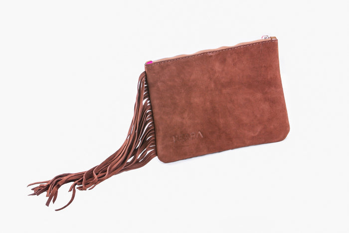Suede Leather Clutch w/ Fringes
