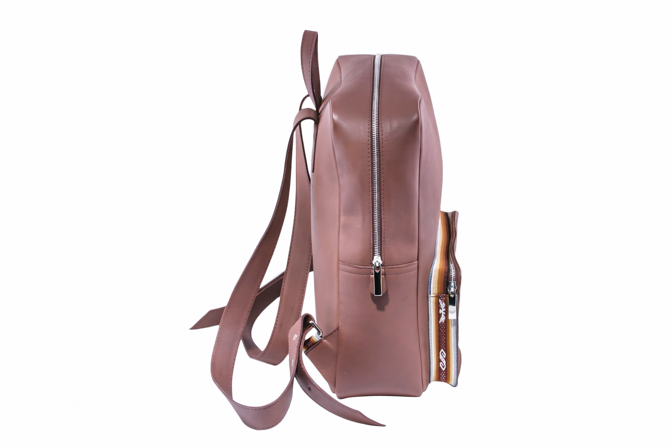 Brown Leather Backpack Side