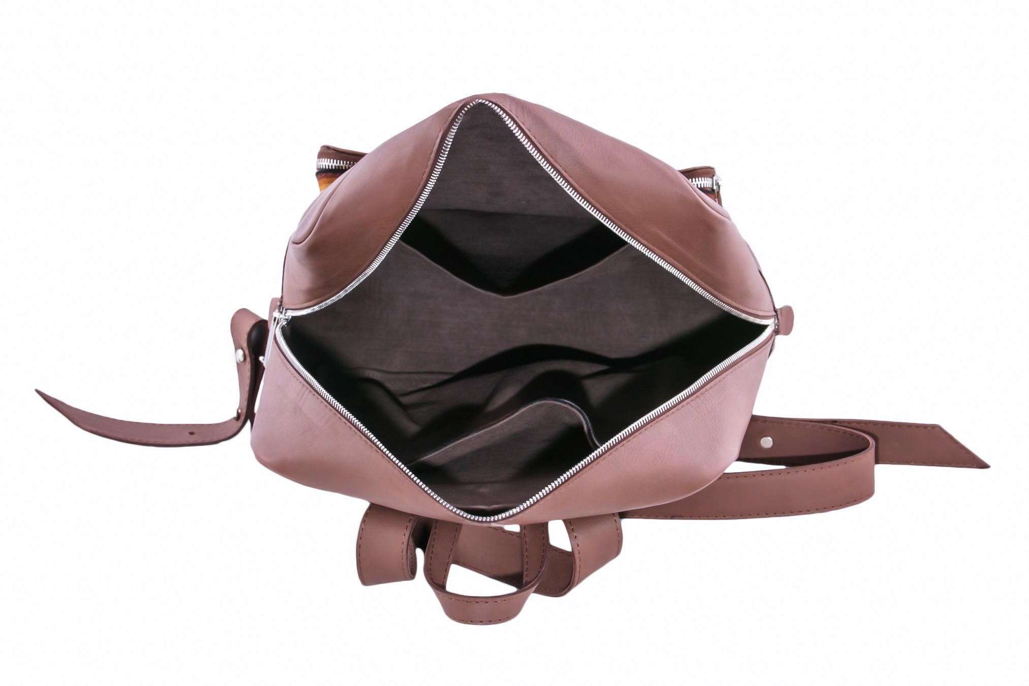 Brown Leather Backpack Interior