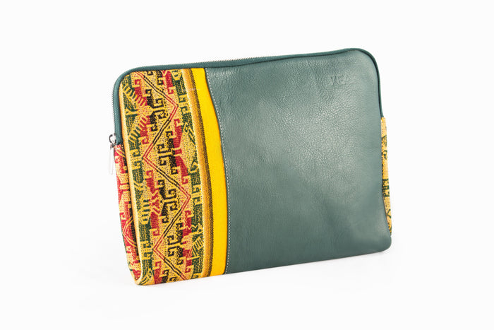 Leather Laptop Case - Green Leather