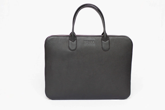 Black Leather Briefcase for Woman