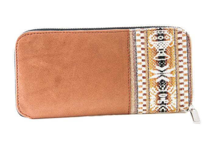 Cantuta Leather Wallet w/ Beige Aguayo