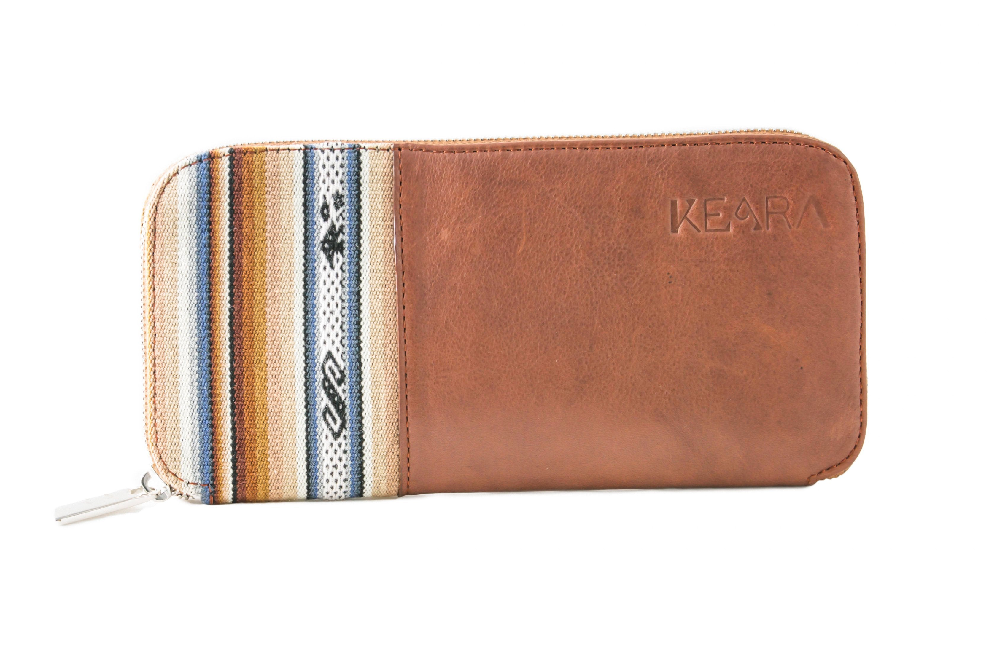 Cantuta Leather Wallet w/ Blue Aguayo