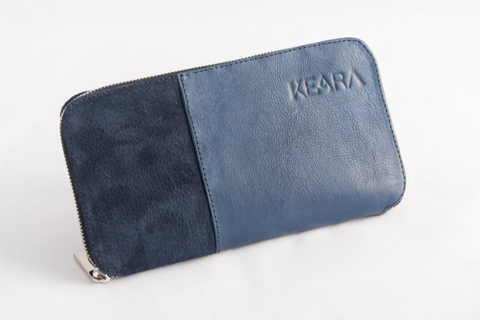 Blue Leather & Suede Wallet
