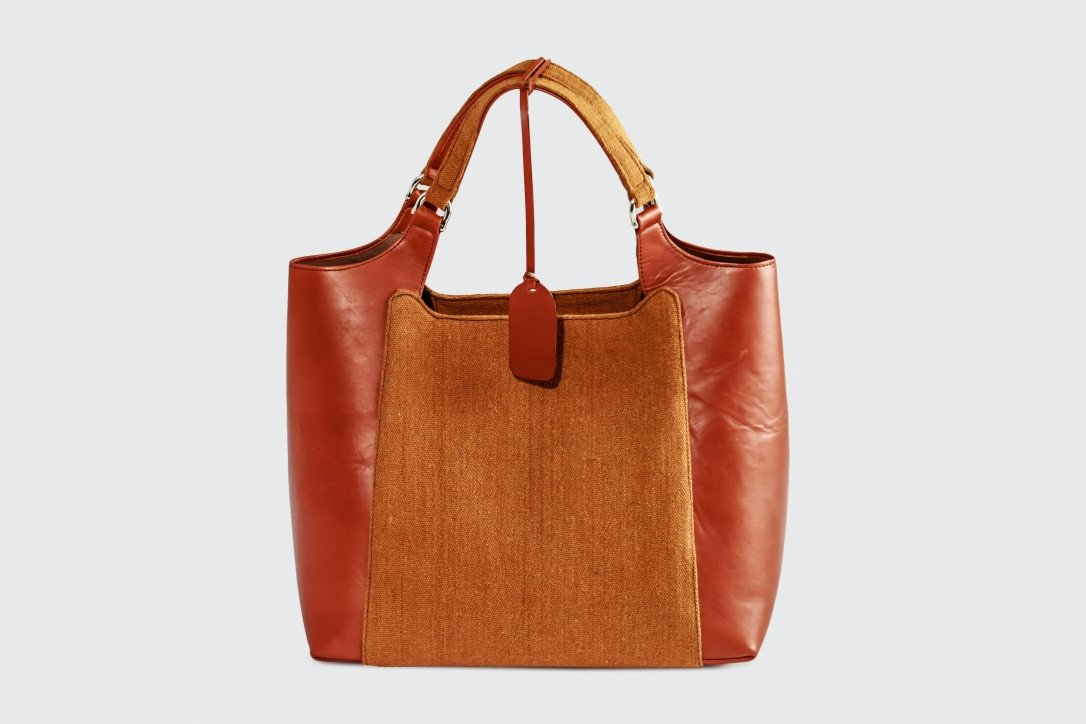 Tan Leather & Brown Fabric Handbag