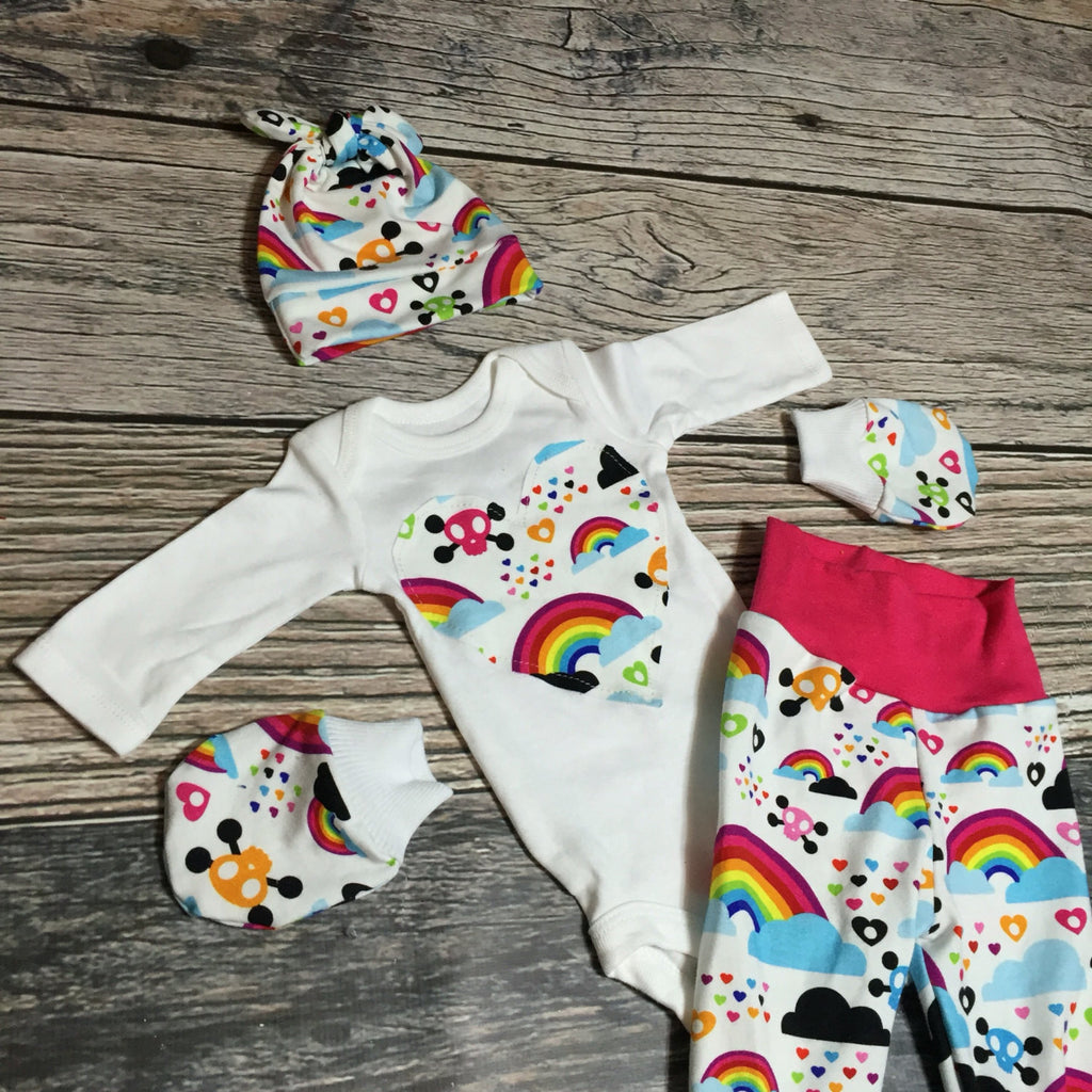 ... Newborn Rainbow Baby COMING HOME outfit Skull knit beanie shirt pants  mittens ... 7c822a9dab7e