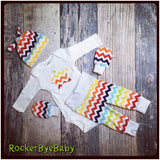Newborn Rainbow Baby COMING HOME outfit Chevron knit beanie shirt pants mittens