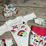 Newborn Rainbow Baby COMING HOME outfit Skull knit beanie shirt pants mittens