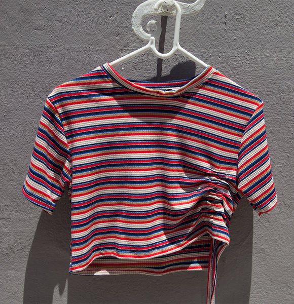 Stripes tee with drawstring