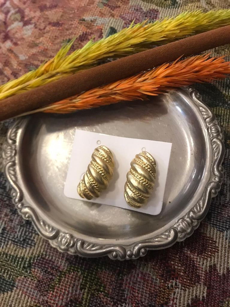 Gold caterpillar style earrings