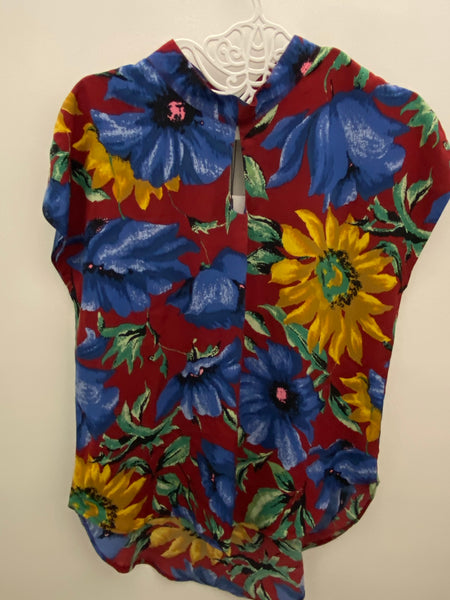 Vintage red with big blue & yellow flowers top
