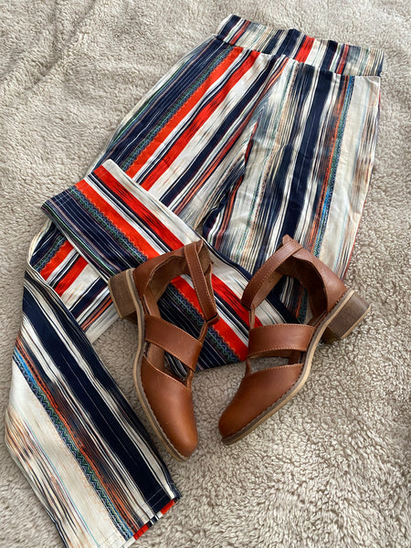 Orange & navy stripe leggings