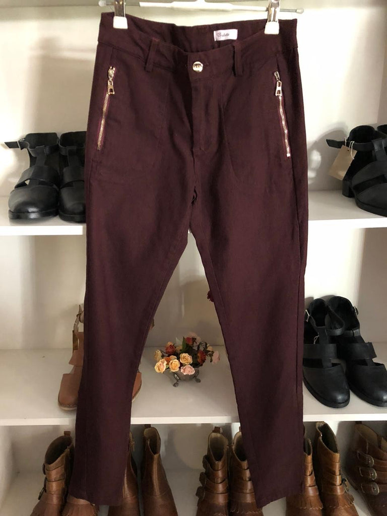 Burgundy modern pants with zip detail