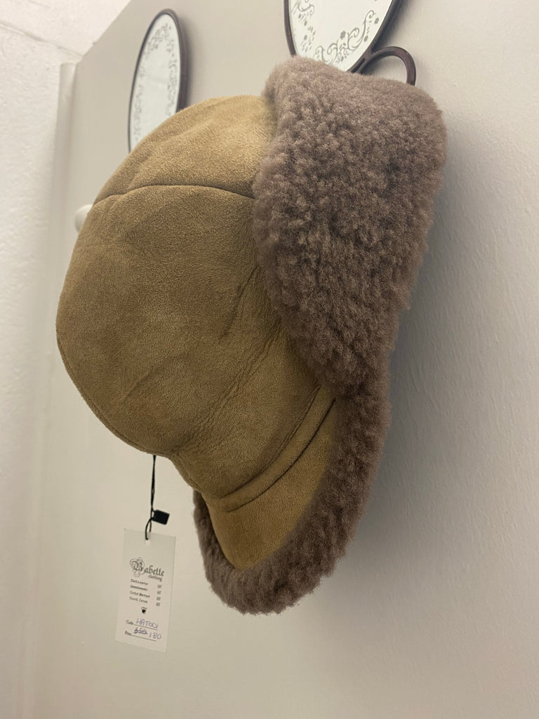 Brown corduroy aviator hat with fur detail