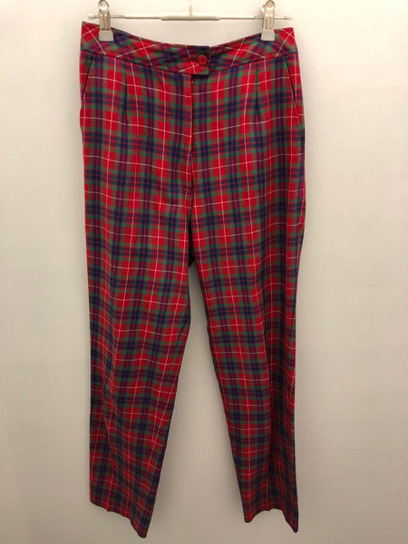 Red & black check vintage pants